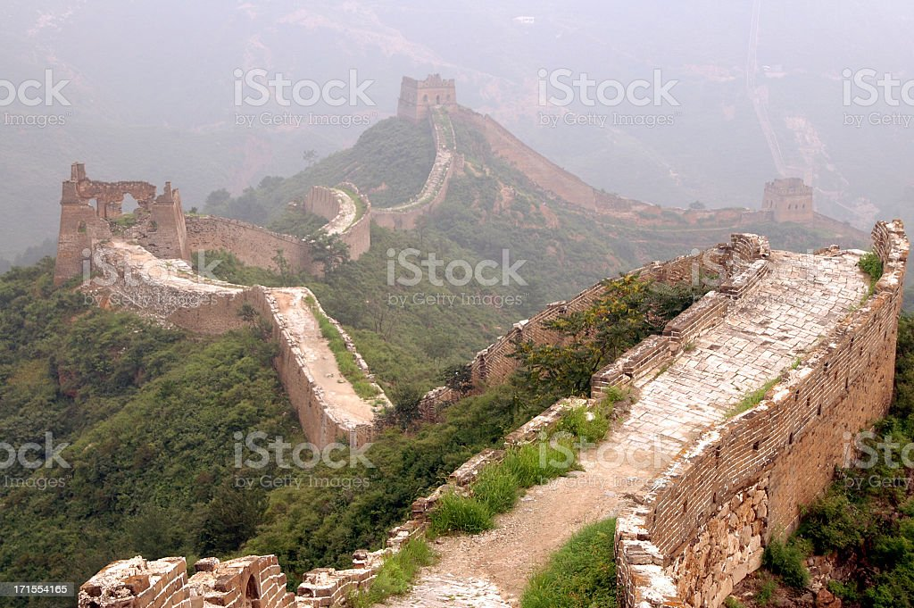 Mist shrouding the Great Wall of China stock photo