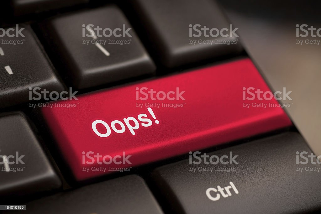mistake concepts, with oops message on keyboard. stock photo