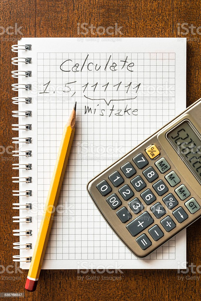 Mistake in the calculations stock photo