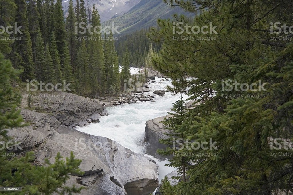 mistaya river and canyon stock photo