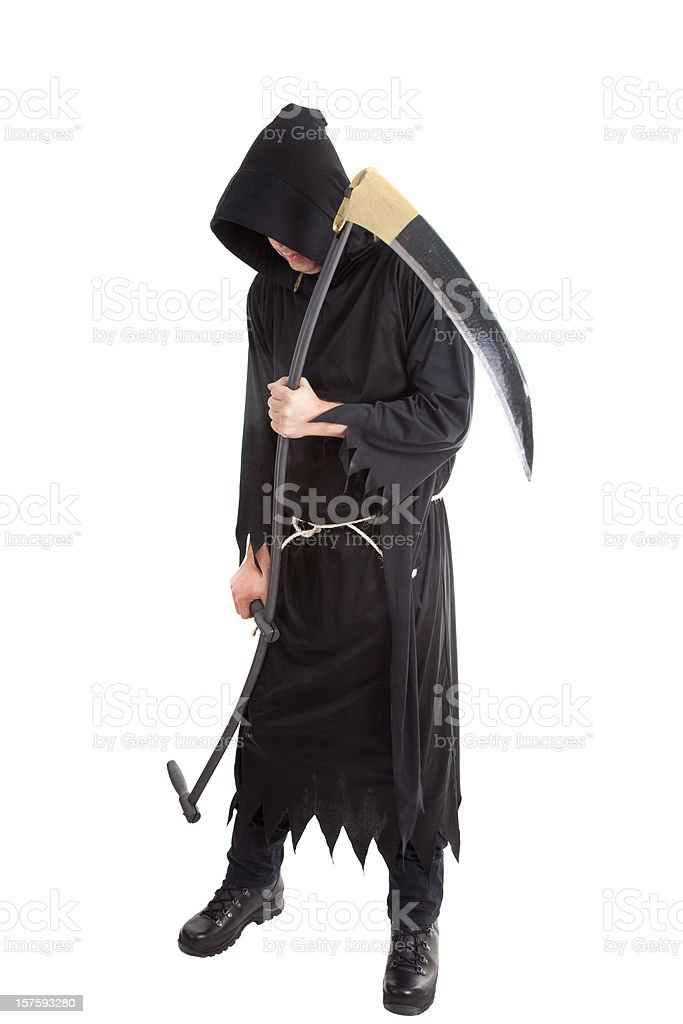 Mister Death holding a scythe isolated on white stock photo