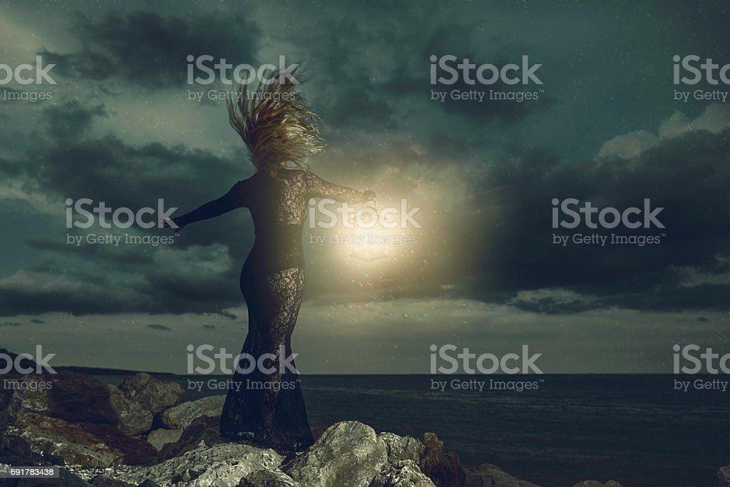 Misterious night stock photo