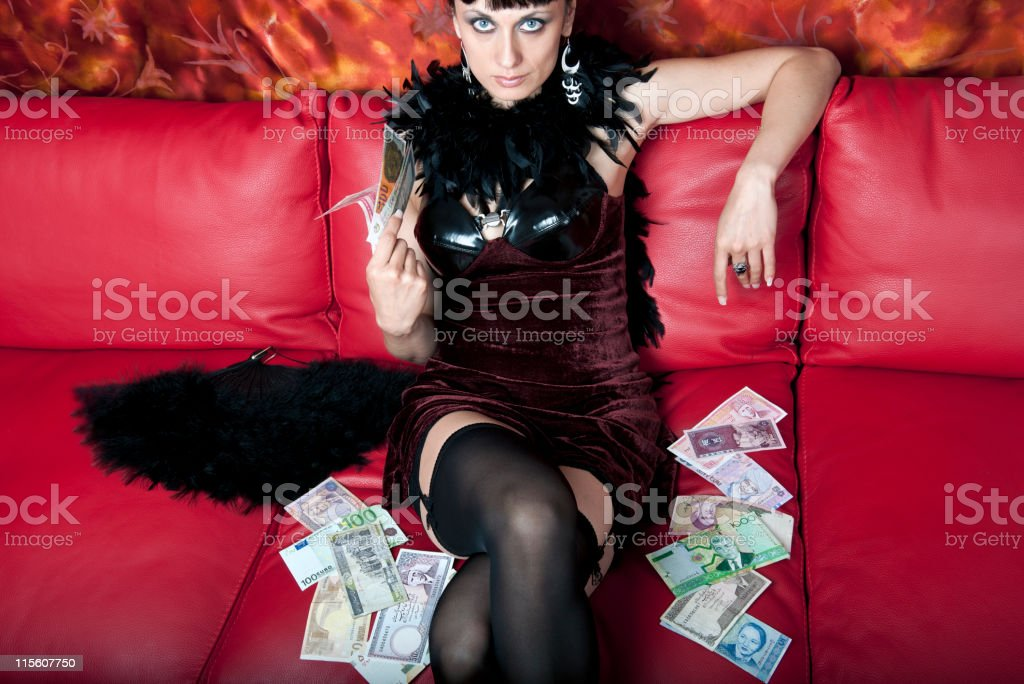Misterious Woman with Banknotes royalty-free stock photo