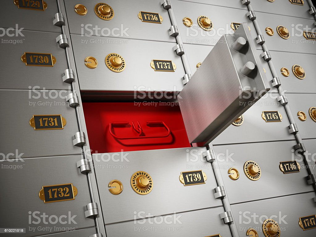 Mistery red box behind open metal safety deposit box stock photo