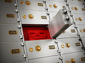 Mistery red box behind open metal safety deposit box