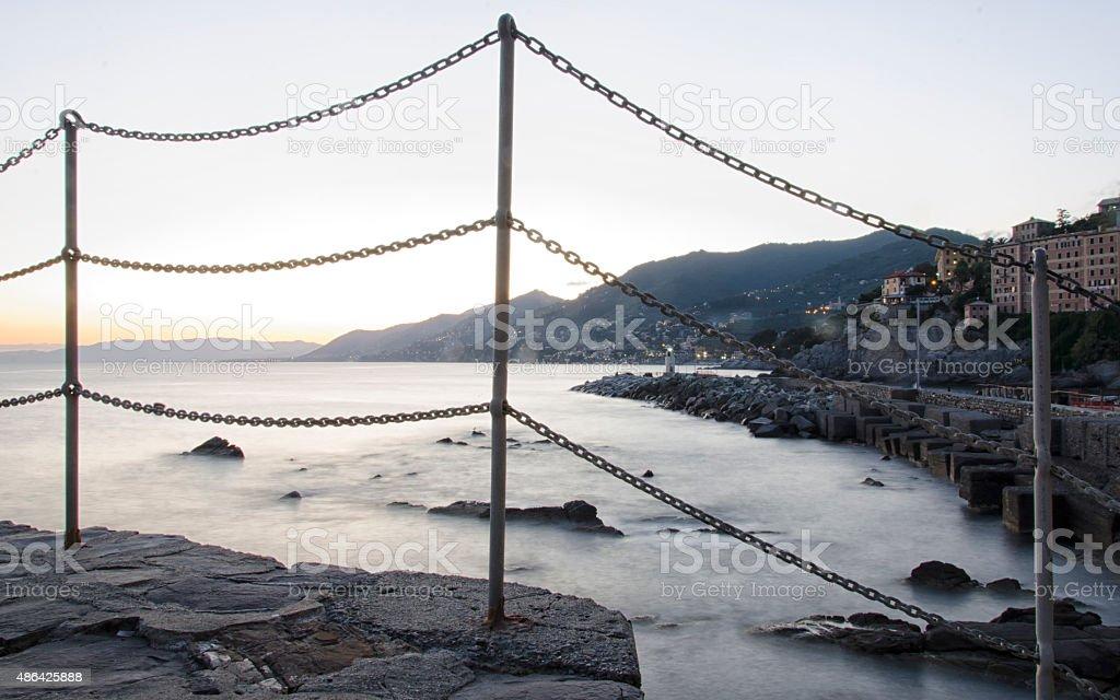 Mistiness on the sea stock photo