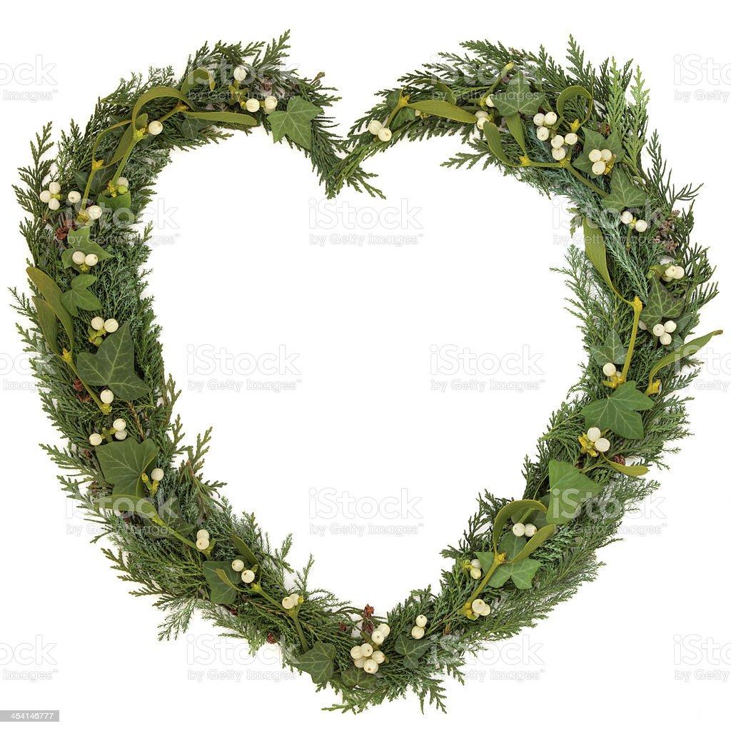 Mistletoe Heart Wreath royalty-free stock photo