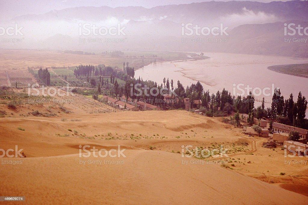 Mists Yellow River Tengger Desert Sapotu Ningxia Zhonwei China stock photo
