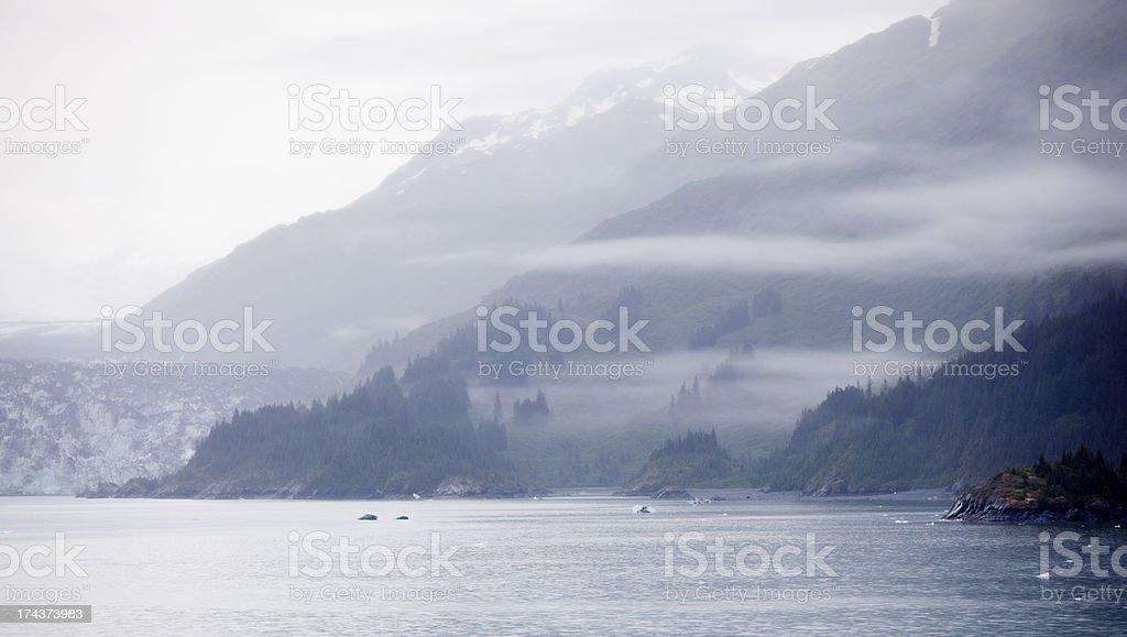 Misty Alaskan Landscape in Yakutat Bay Near Hubbard Glacier stock photo