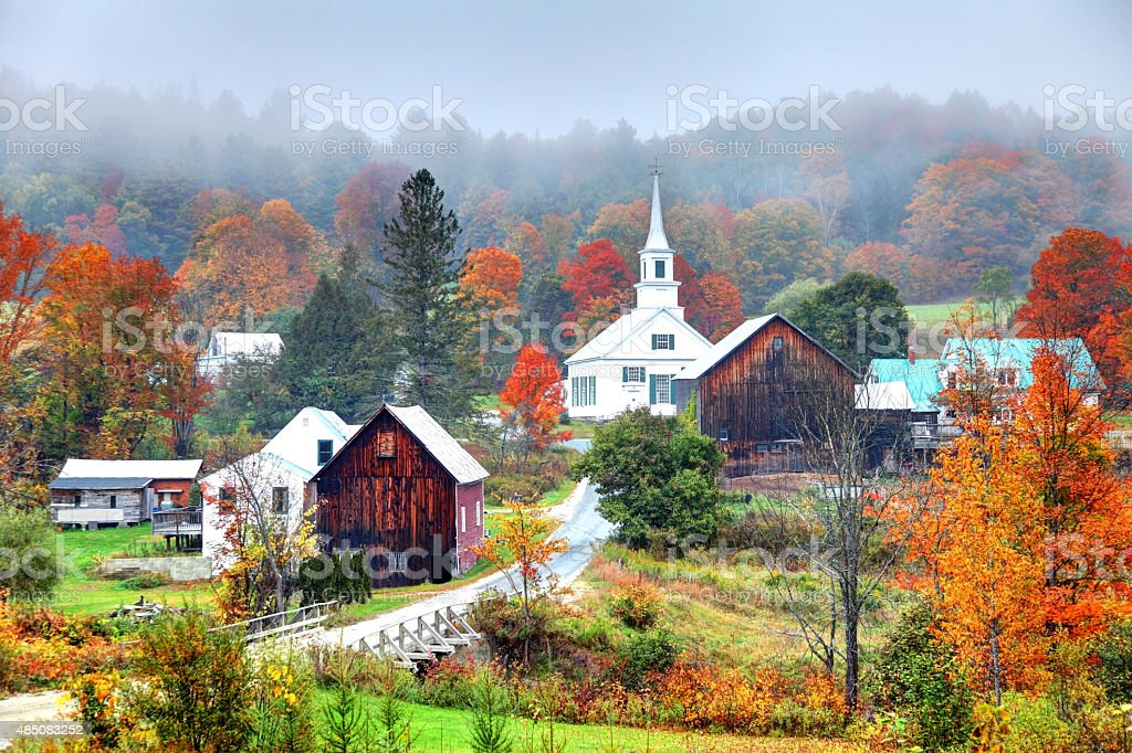 Misty Autumn Foliage in Rural Vermont stock photo
