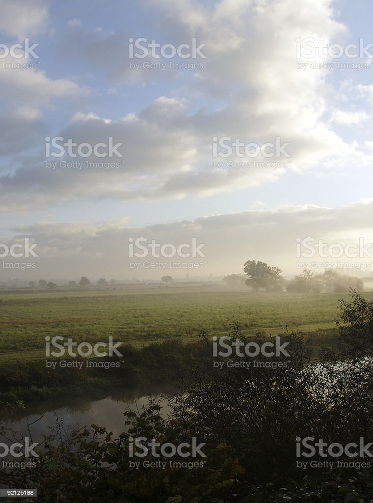 Misty autumn morning over River Avon royalty-free stock photo