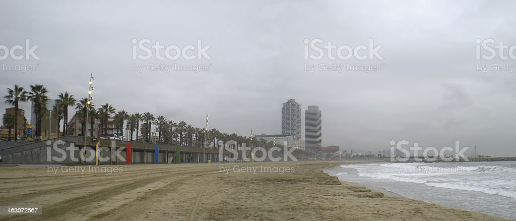 Misty Barcelona royalty-free stock photo