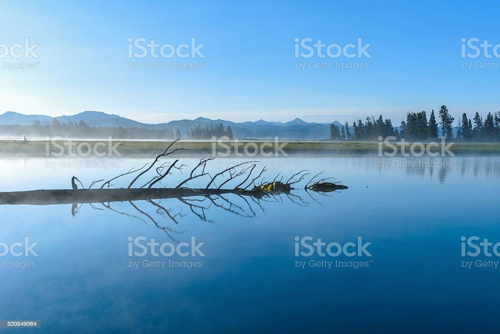 Misty Blue Lake stock photo