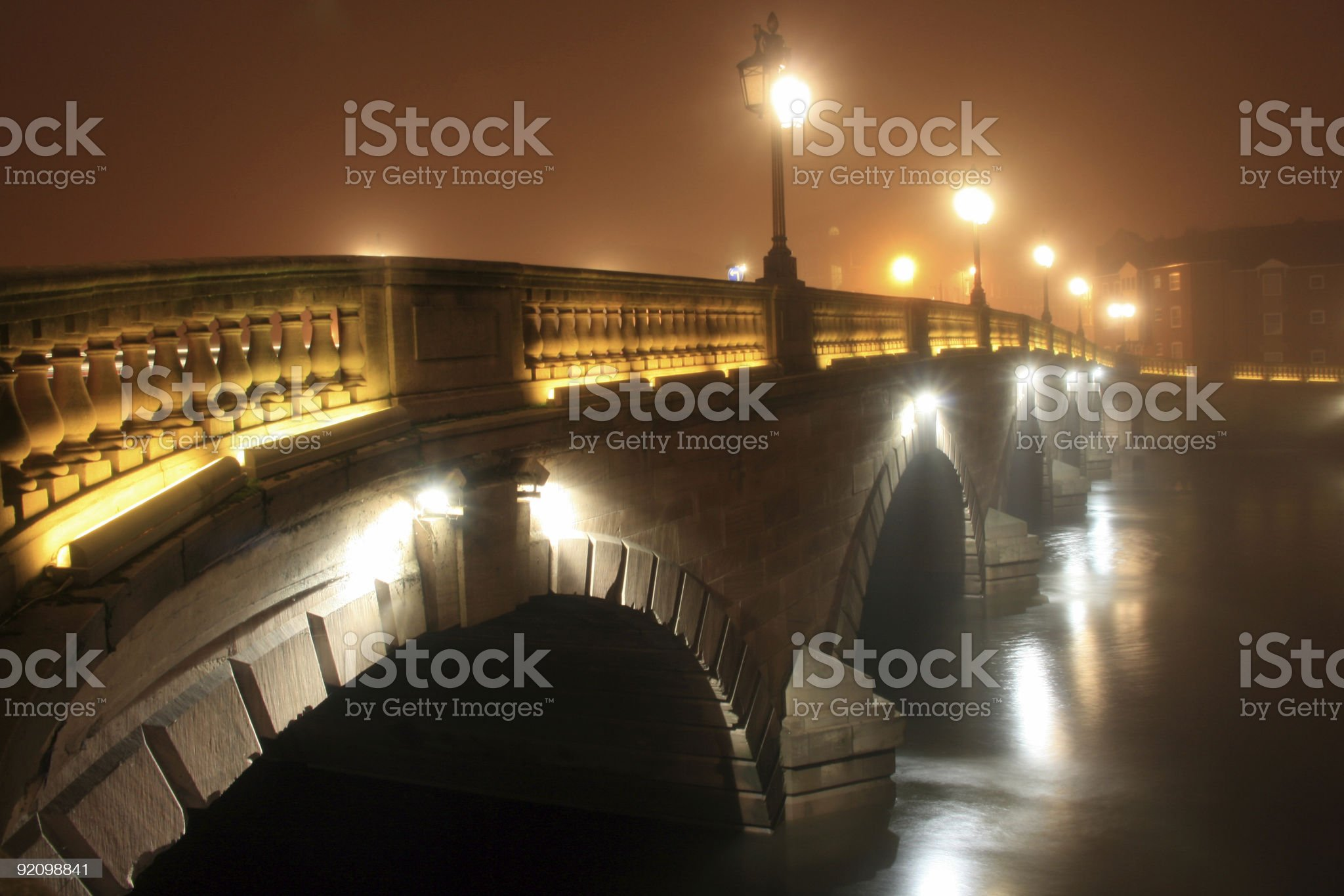 Misty bridge over the River Severn at Worcester royalty-free stock photo