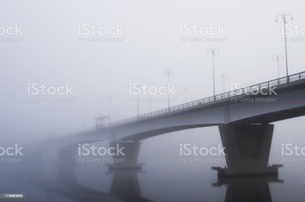 Misty bridge stock photo