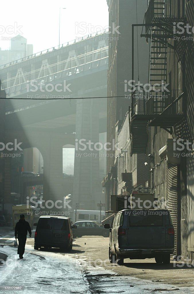 Misty Brooklyn Backstreet Morning Shafts of Sunlight Manhattan Bridge royalty-free stock photo