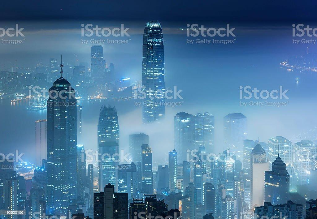 Misty city stock photo