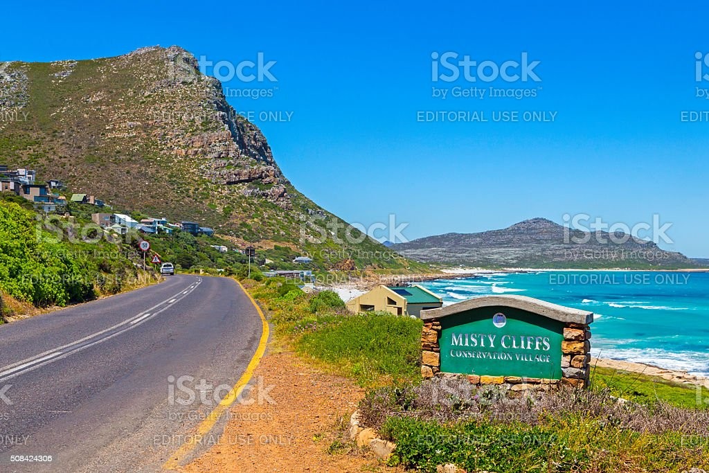Misty Cliffs at Scarborough in Cape Town stock photo