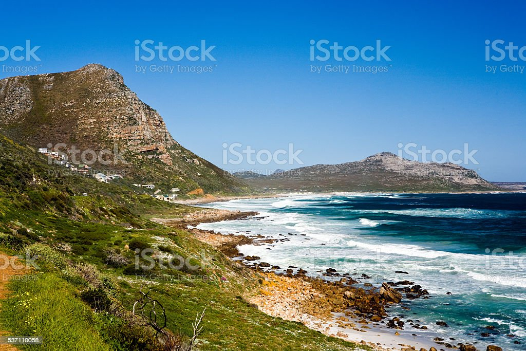 Misty Cliffs seaside village near Cape Town, exclusive Atlantic beautiful stock photo