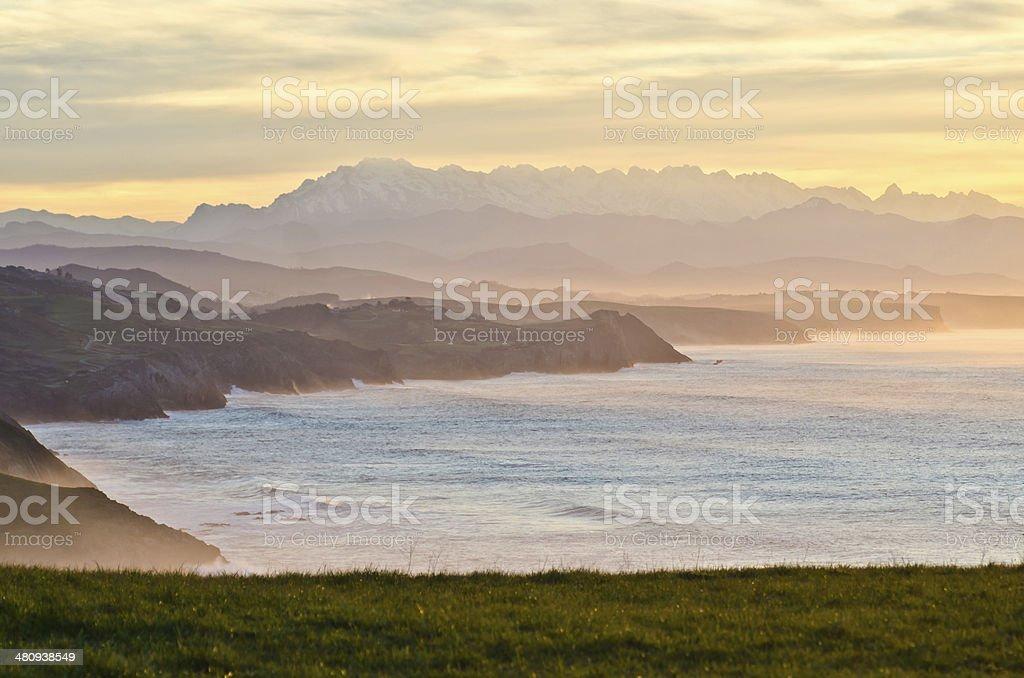 Misty coastside royalty-free stock photo