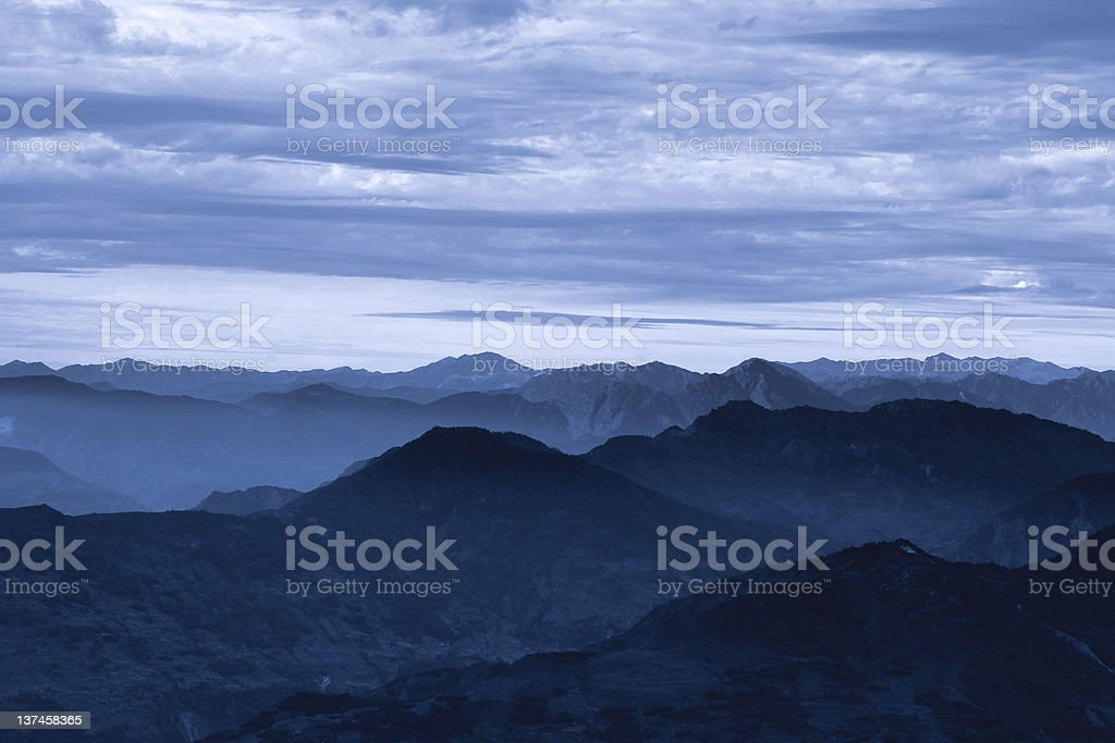 Misty dawn in Himalayas royalty-free stock photo