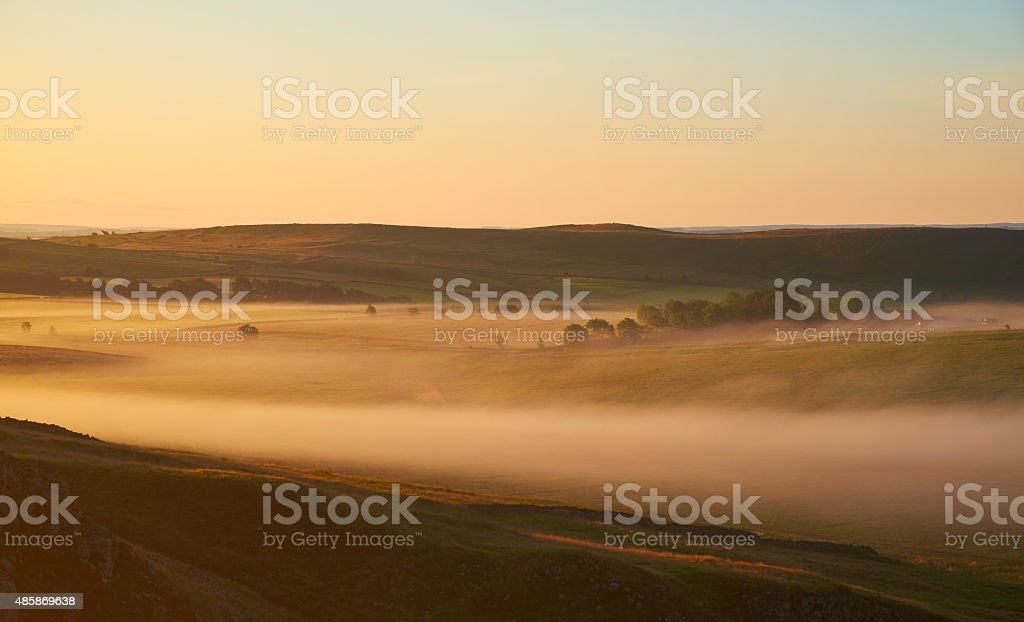 Misty Dawn In Northumberland stock photo
