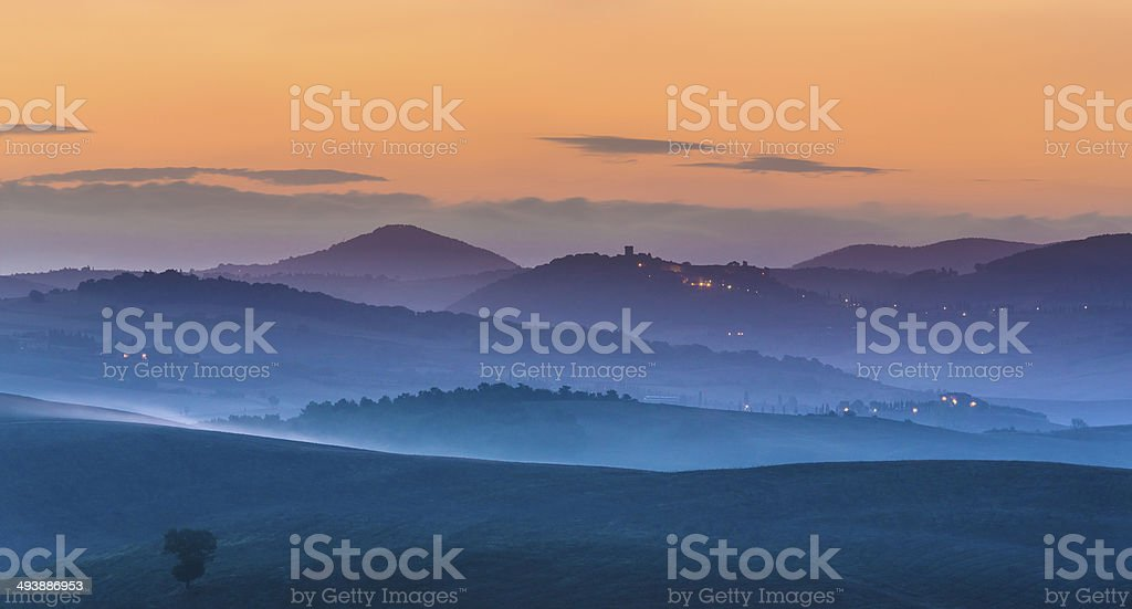 Misty dawn in Tuscany royalty-free stock photo