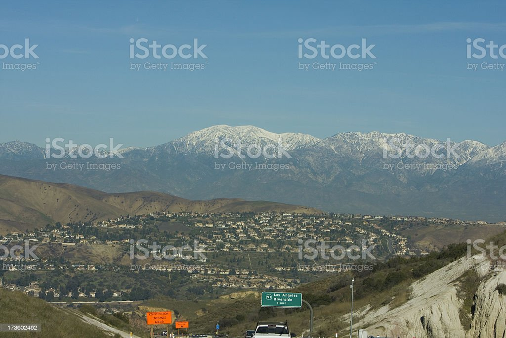 A misty distant view of Mt. Baldy in San Antonio stock photo