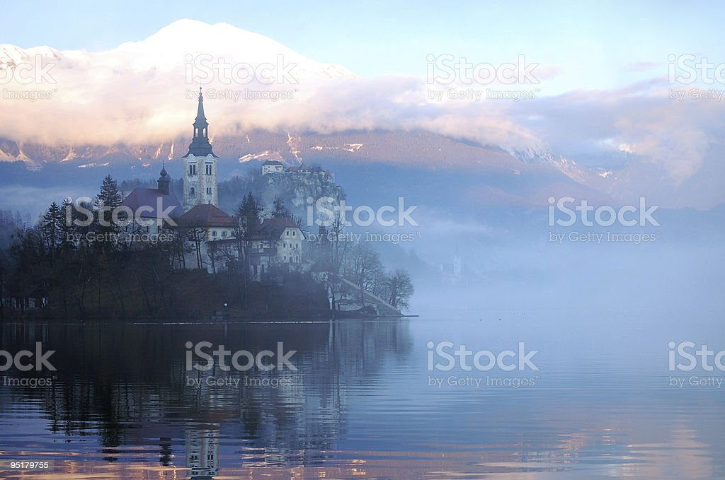Misty Evening At The Bled Lake royalty-free stock photo