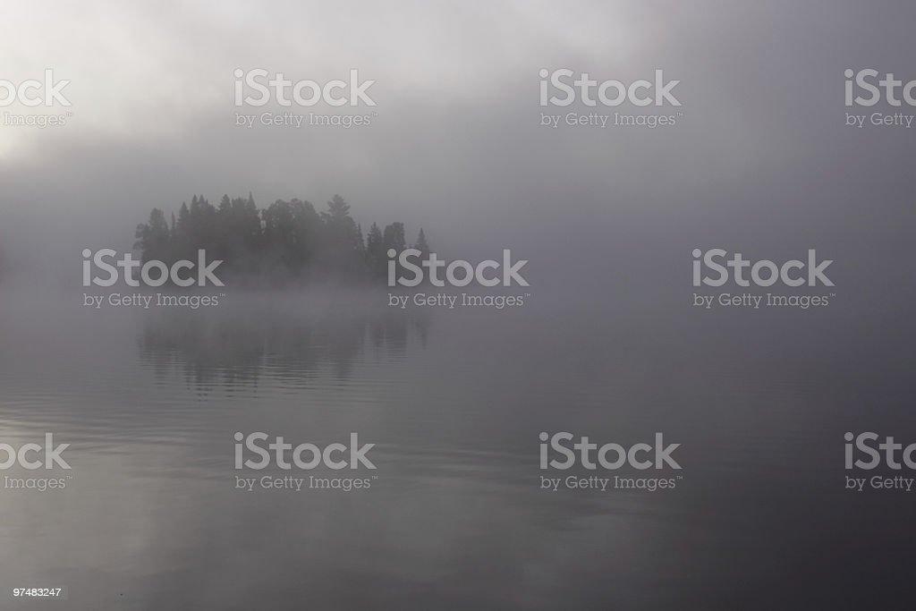 Misty Evergreen Island royalty-free stock photo