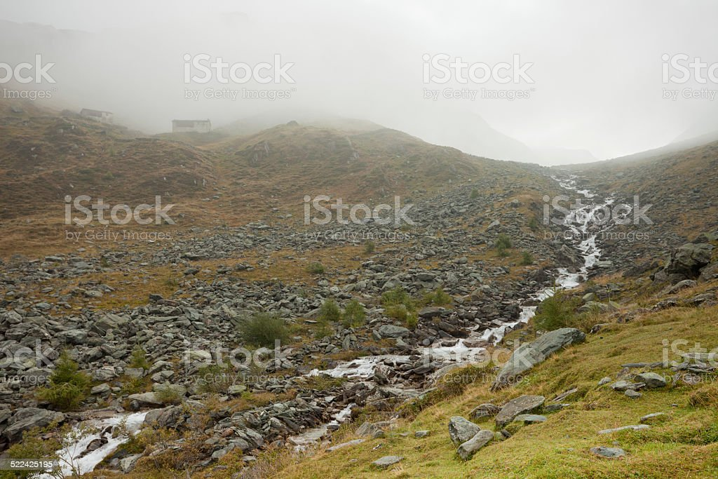 Misty in the Alps stock photo