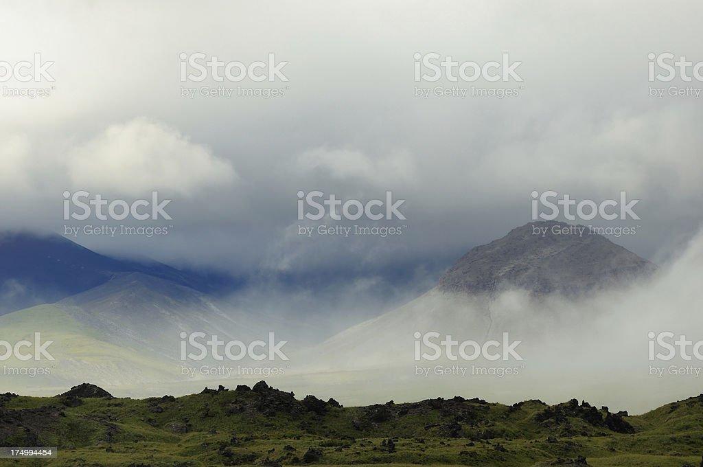 Misty Kamchatka landscape stock photo