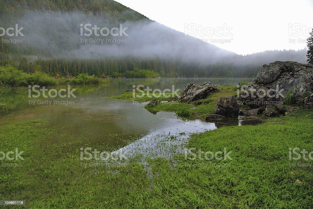 Misty Lake Landscape royalty-free stock photo