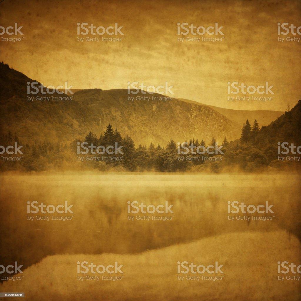 misty lake stock photo