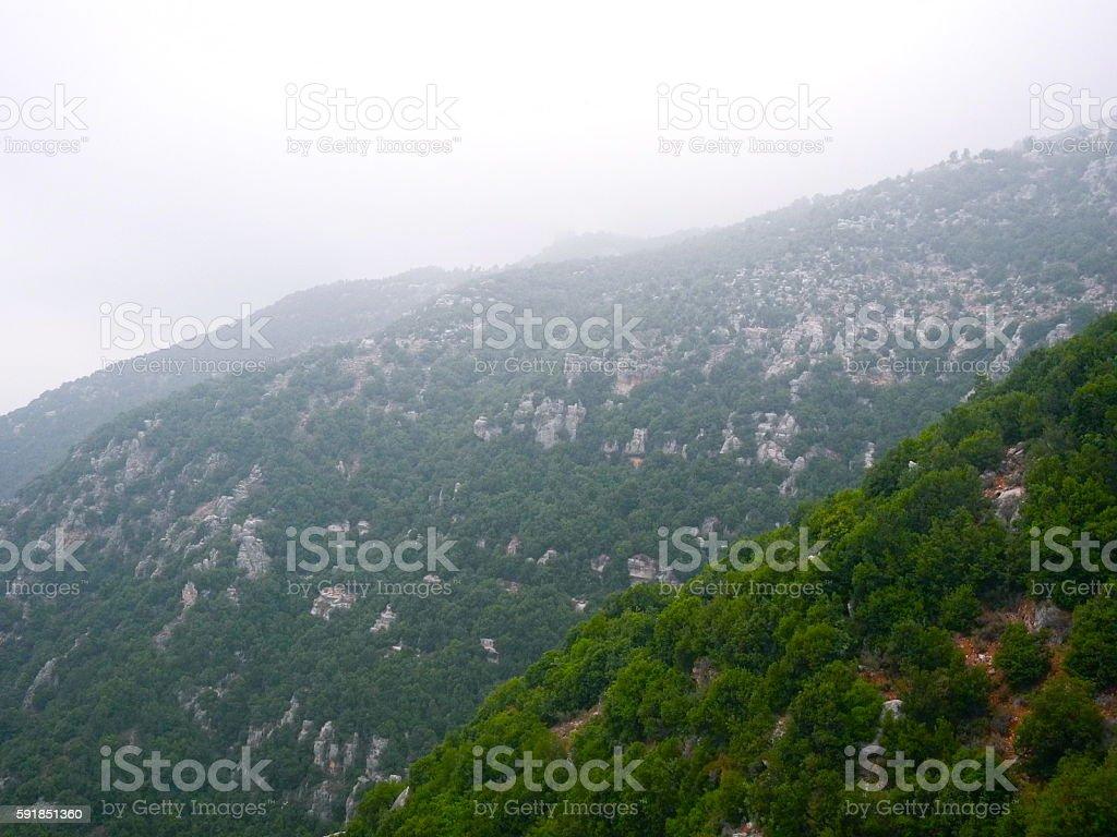 Misty Lebanese Mountains stock photo