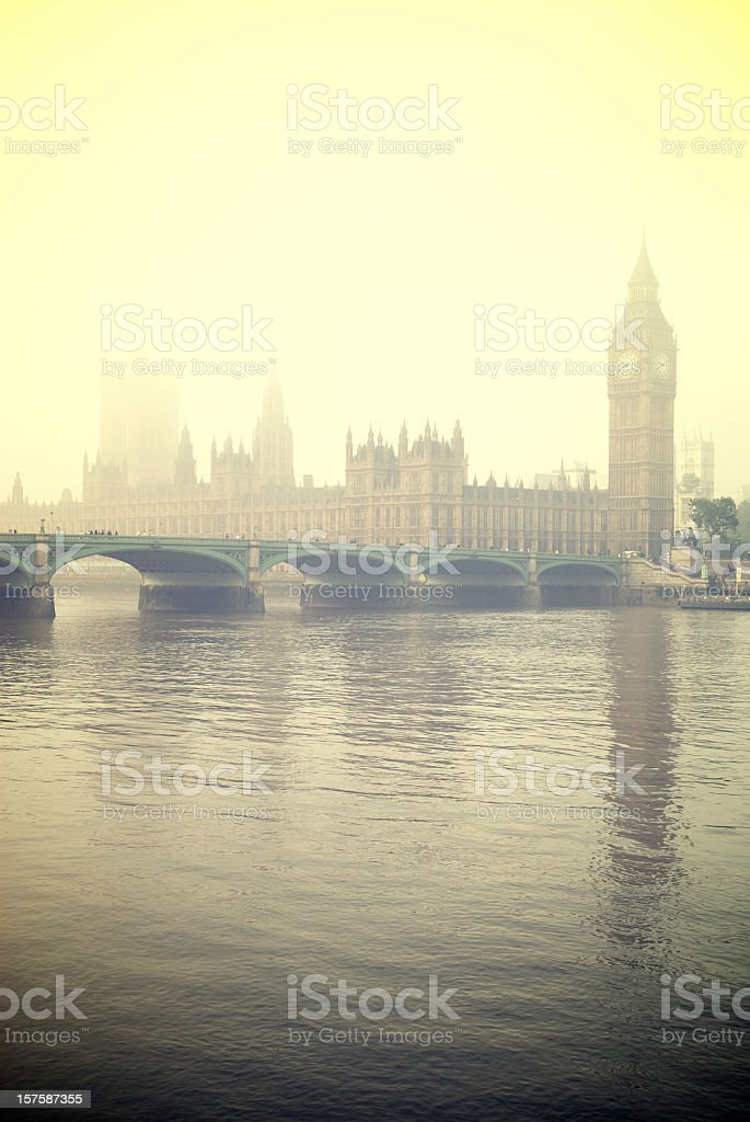Misty London Big Ben and Houses of Parliament royalty-free stock photo