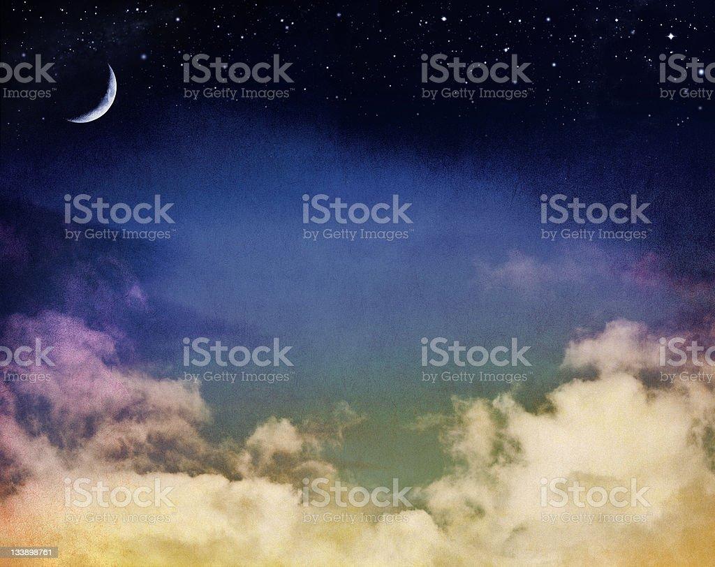 Misty Moon Seascape royalty-free stock photo