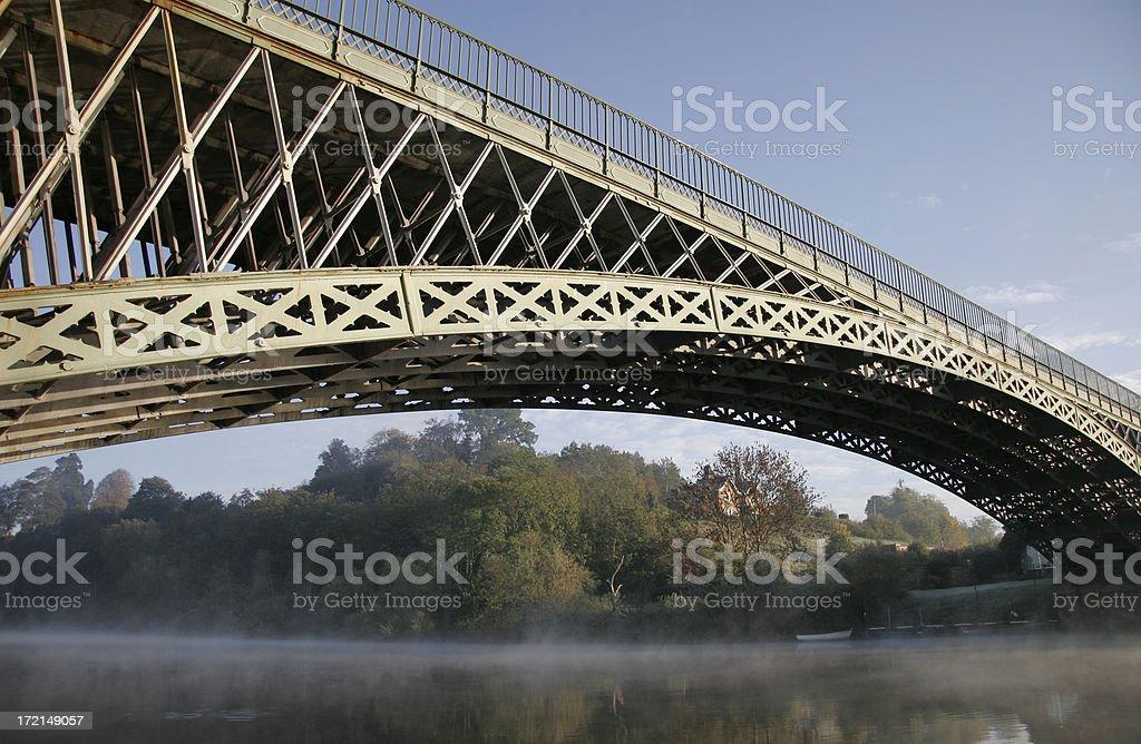 Misty morning at Mythe Bridge stock photo
