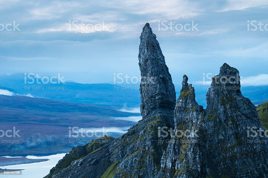 Misty morning at The Old Man of Storr, Scotland stock photo
