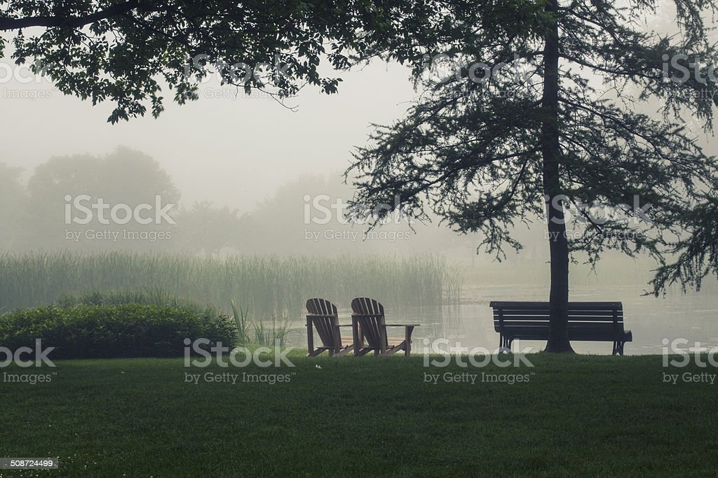 misty morning by the lake royalty-free stock photo