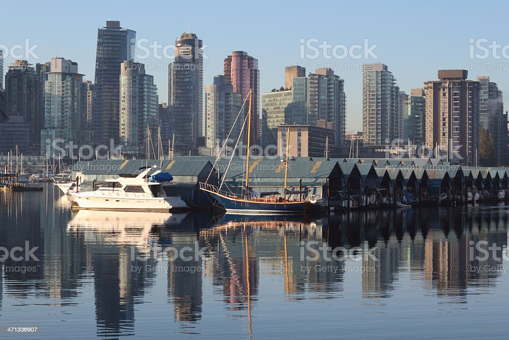 Misty Morning, Coal Harbor Vancouver royalty-free stock photo