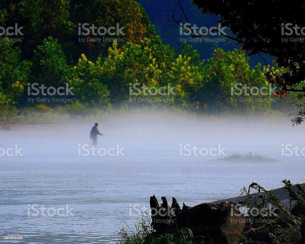 Misty Morning Fly Fishing stock photo