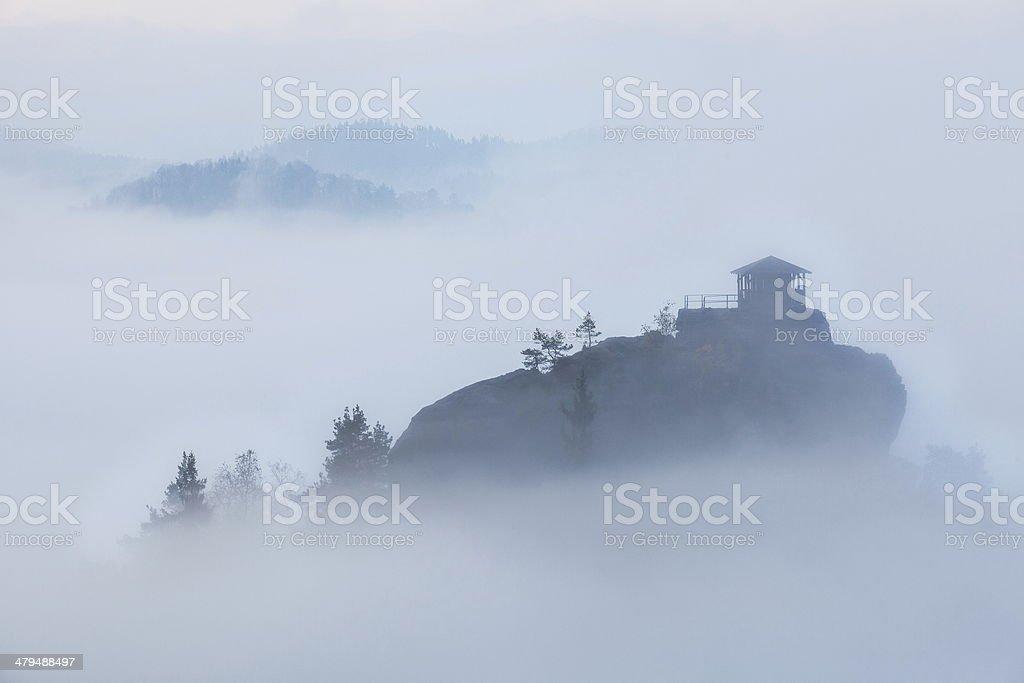 Misty Morning in Szech Switzerland stock photo