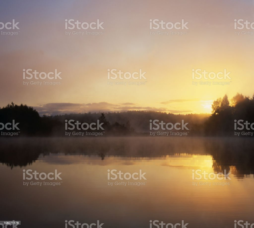 XXXL misty morning in the country at lake royalty-free stock photo