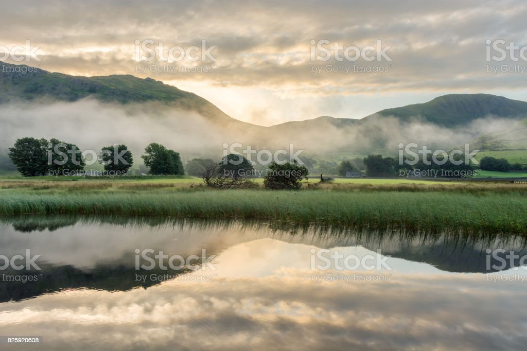 Misty Morning In The Lake District. stock photo