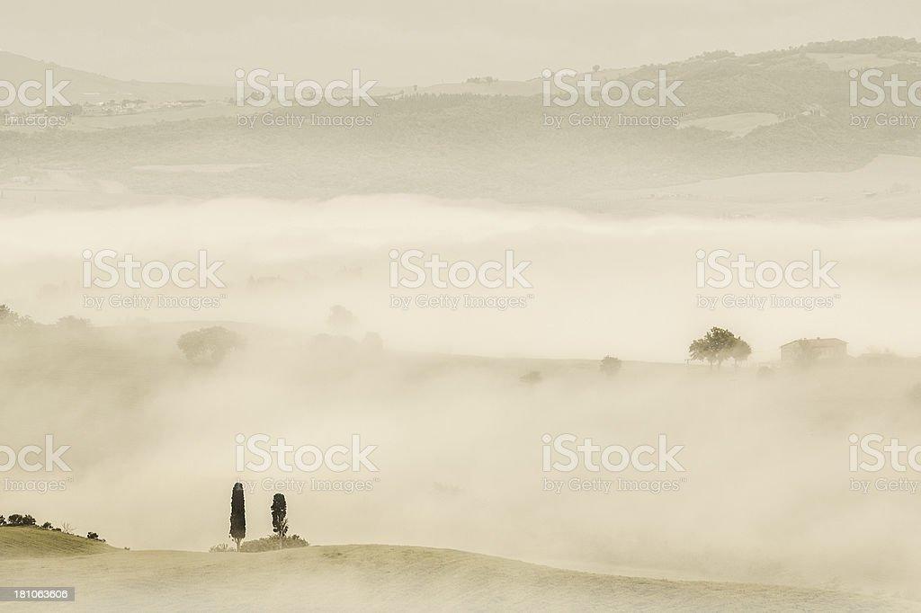 Misty morning in Tuscany royalty-free stock photo
