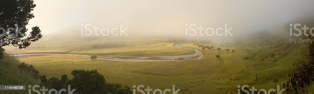 Misty morning, Natal Royal National Park, South Africa stock photo