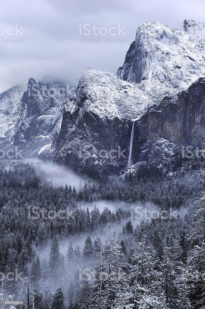 Misty morning on Bridalveil Falls in Yosemity National Park royalty-free stock photo