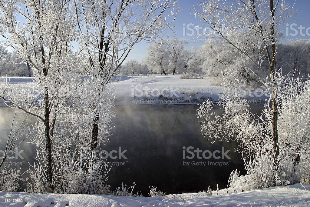misty morning on the river Zai royalty-free stock photo