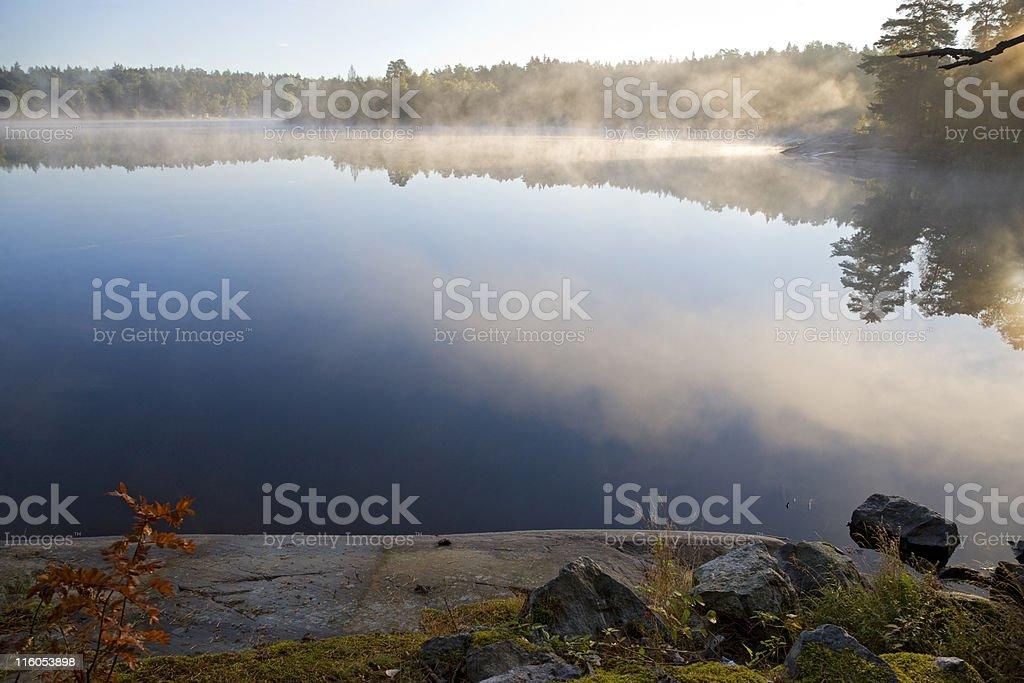 Misty morning on the Stockholm archipelago royalty-free stock photo
